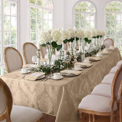 60 in. W x 144 in. L Beige Elrene Barcelona Damask Fabric Tablecloth