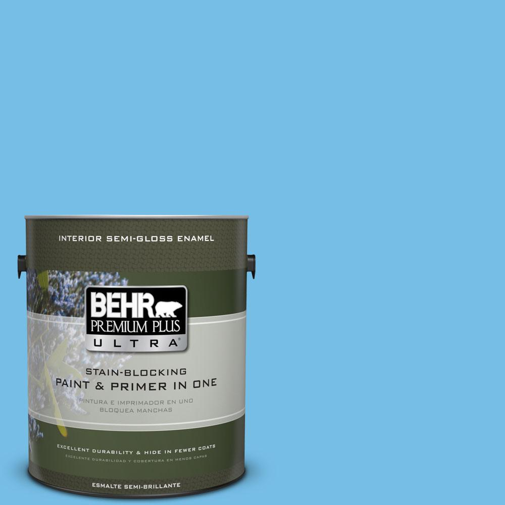 1-gal. #550B-4 Costa Rica Blue Semi-Gloss Enamel Interior Paint