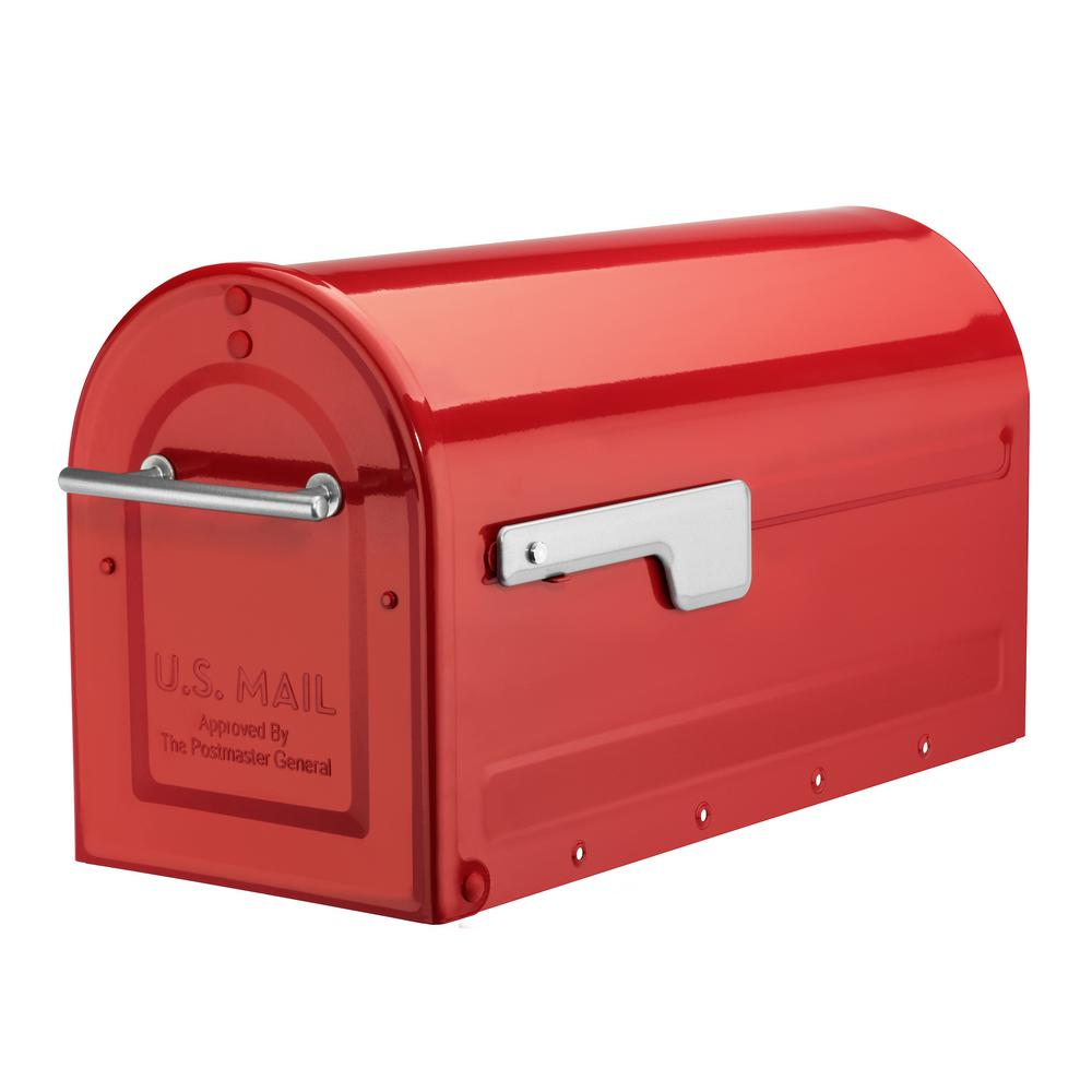Architectural Mailboxes Boulder Red Post Mount Mailbox with Silver Flag