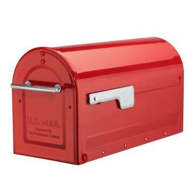 Boulder Red Post Mount Mailbox with Silver Flag
