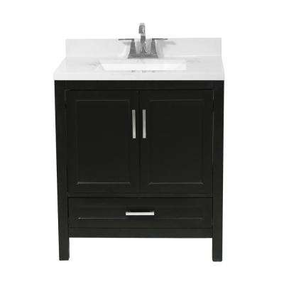 Salerno 31 in. Bath Vanity in Espresso with Cultured Marble Vanity Top with Backsplash in Carrara White with White Basin