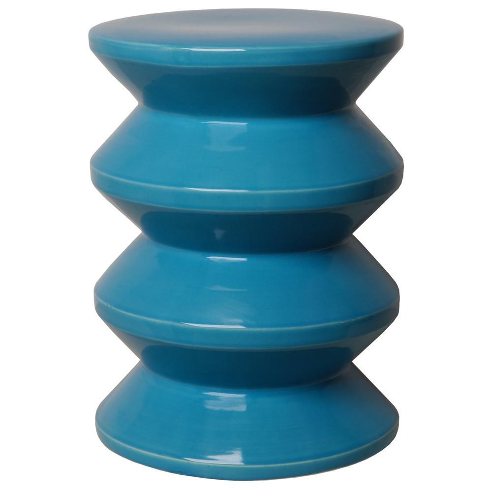 Turquoise Accordion Ceramic Garden Stool