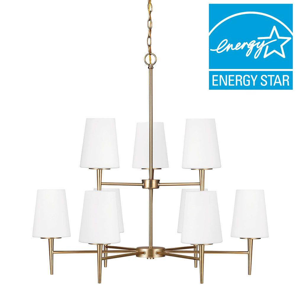 Sea Gull Lighting Driscoll 9-Light Satin Bronze Fluorescent Chandelier with Inside White Painted Etched Glass