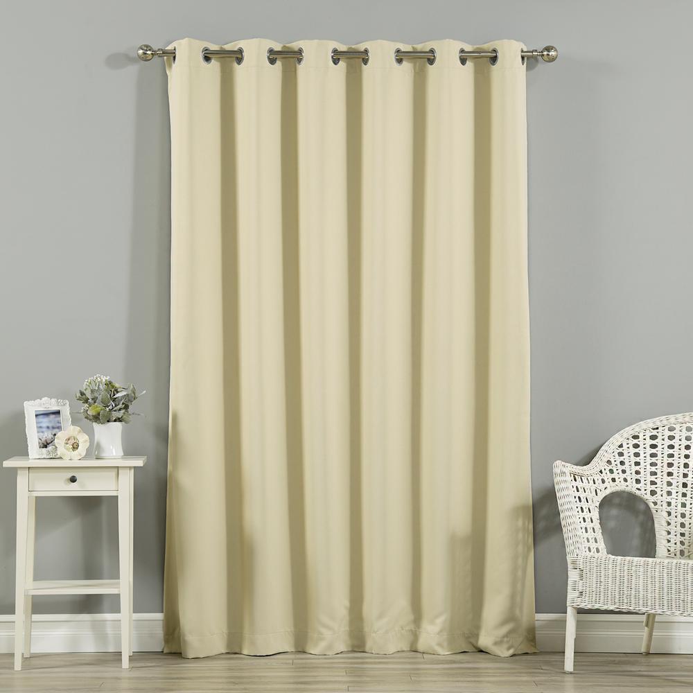 Wide Width Basic Silver 80 in W. x 96 in. L Grommet Blackout Curtain in Beige