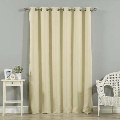 Wide Width Basic Silver 80 in W. x 96 in. L Grommet Blackout Curtain in Beige