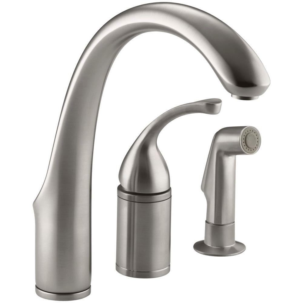 Kohler Forte Single Handle Standard Kitchen Faucet With Side Sprayer In Vibrant Stainless K 10430 Vs The Home Depot