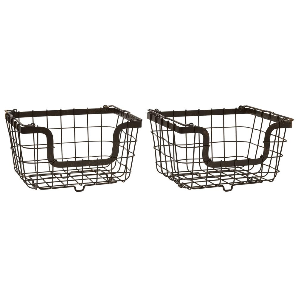 Carbon Steel Wire Storage Basket (Set of 2)