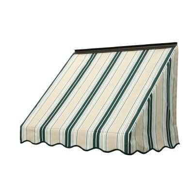 NuImage Awnings 4 ft. 3700 Series Fabric Window Awning (23 in. H x 18 in. D) in Forest Green/Beige/Natural Fancy Stripe