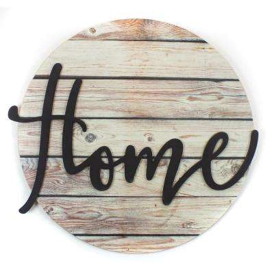 """17 in. W x 16 in. H """"Home"""" by JLB Printed Wall Art"""
