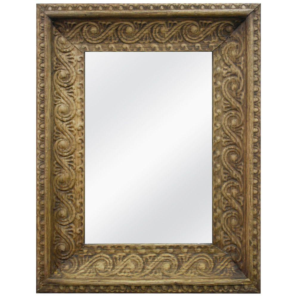 MCS 34.75 in. x 26.75 in. Ornate Banana Leaf Framed Mirror