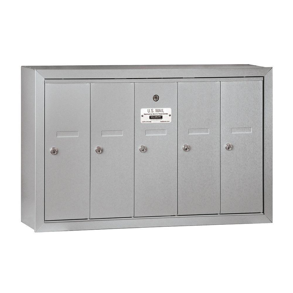 Salsbury Industries 3500 Series Aluminum Surface-Mounted Private Vertical Mailbox with 5 Doors