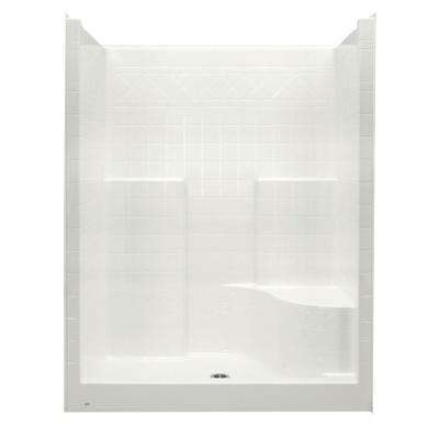 Everyday 60 in. x 36 in. x 79 in. 1-Piece Shower Stall with Right Seat and Center Drain in Biscuit
