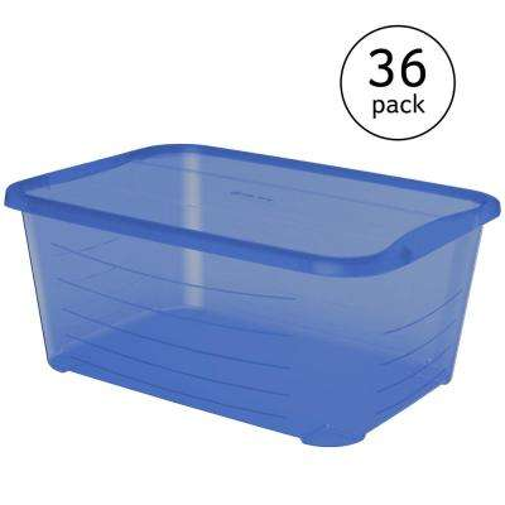 5.5 Qt. Rectangular Blue Plastic Protective Storage Shoe Box (36-Pack)