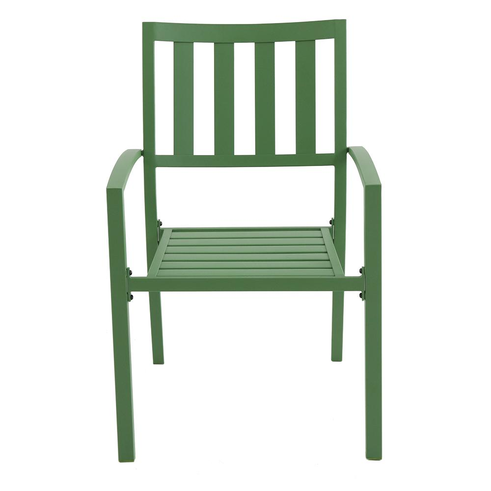 Hampton Bay Mix and Match Fern Metal Slat Outdoor Dining Chair (2-Pack)