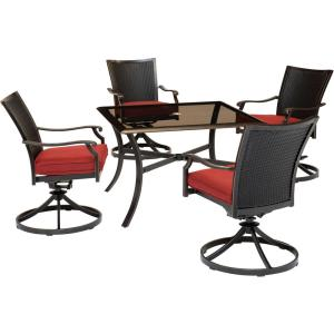 Traditions 5-Piece Wicker Outdoor Dining Set with Red Cushions