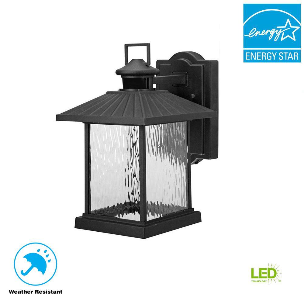 Hampton Bay Lumsden Outdoor Black LED Motion Sensor Wall Mount Lantern