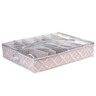 29 in. x 23 in. x 6 in. 12-Pair Under the Bed Shoe Storage Box in Ikat