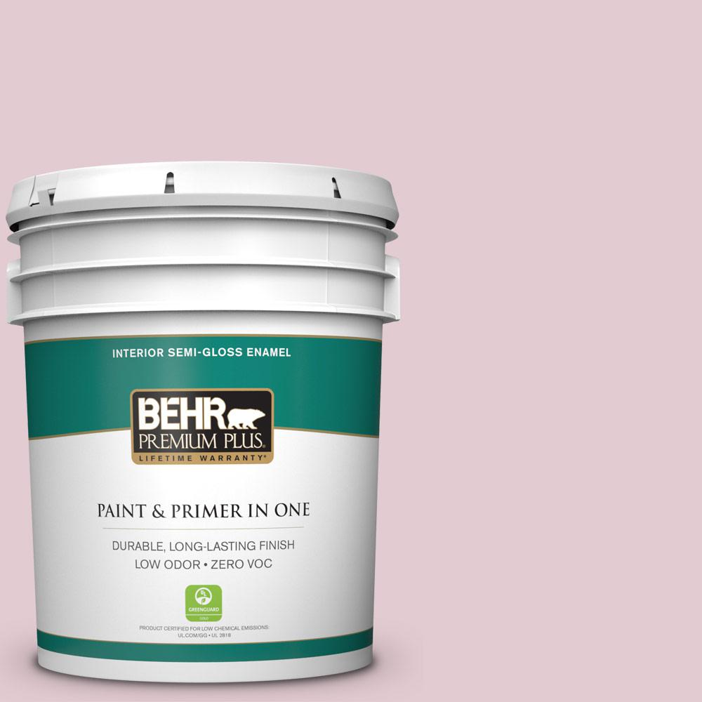 BEHR Premium Plus 5-gal. #100C-2 Cool Pink Zero VOC Semi-Gloss Enamel Interior Paint, Reds/Pinks