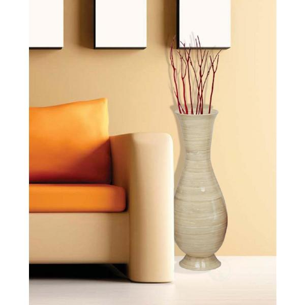 37 in. Tall Natural Modern Handmade Bamboo Floor Vase