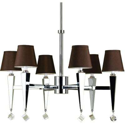 6779 6-Light Chrome Chandelier with Chocolate Shades