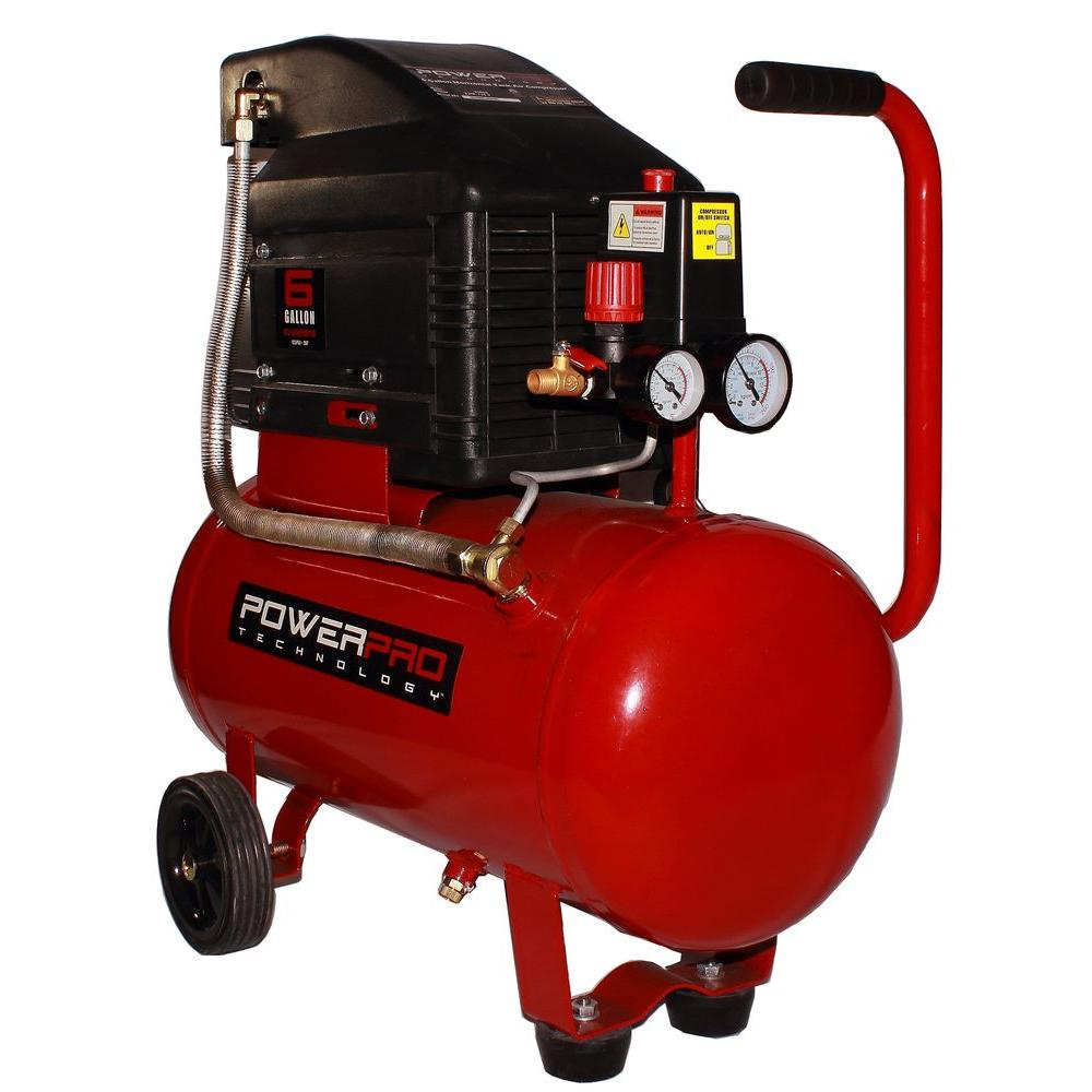 Power Pro Technology 6 Gal. Portable Electric Horizontal Air Compressor