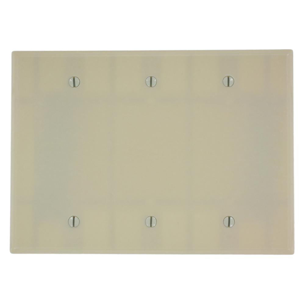 Leviton 3 gang midsize blank box mount wallplate ivory for Four blank walls