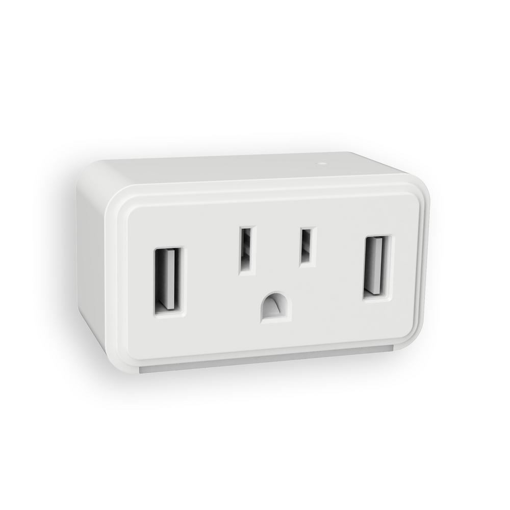 Westek Westek White Cube LED Night Light with Power Outlet and Duel USB Outlets