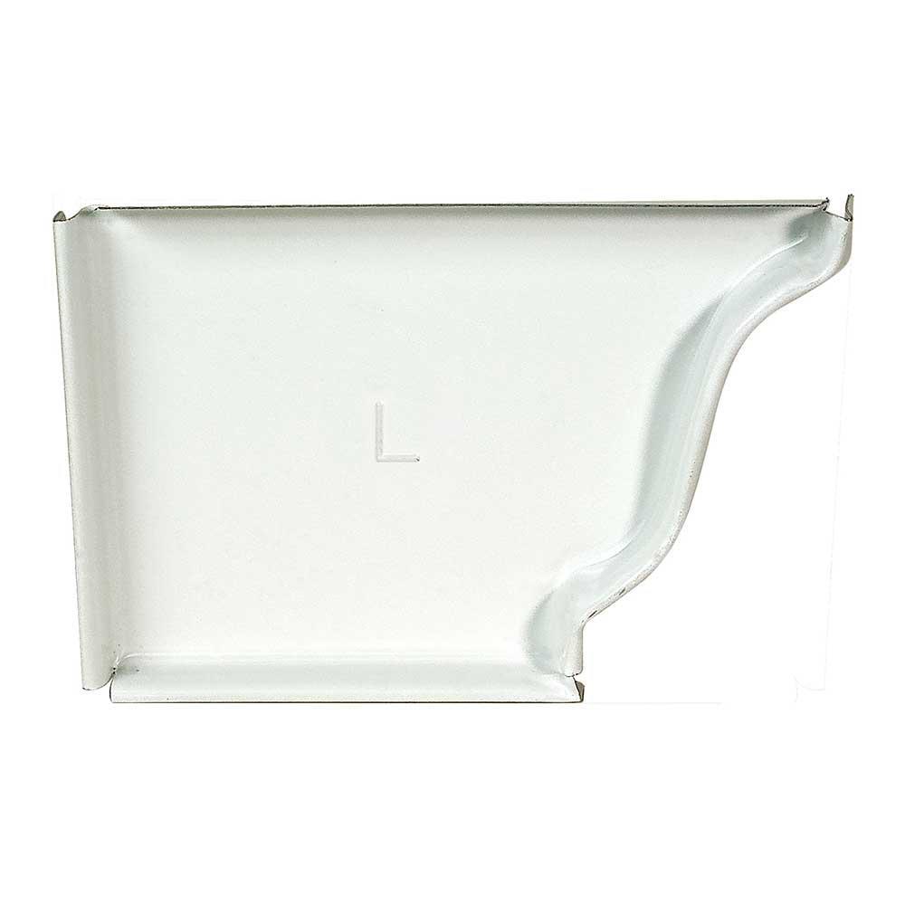 5 in. White Aluminum K-Style Gutter Left End Cap