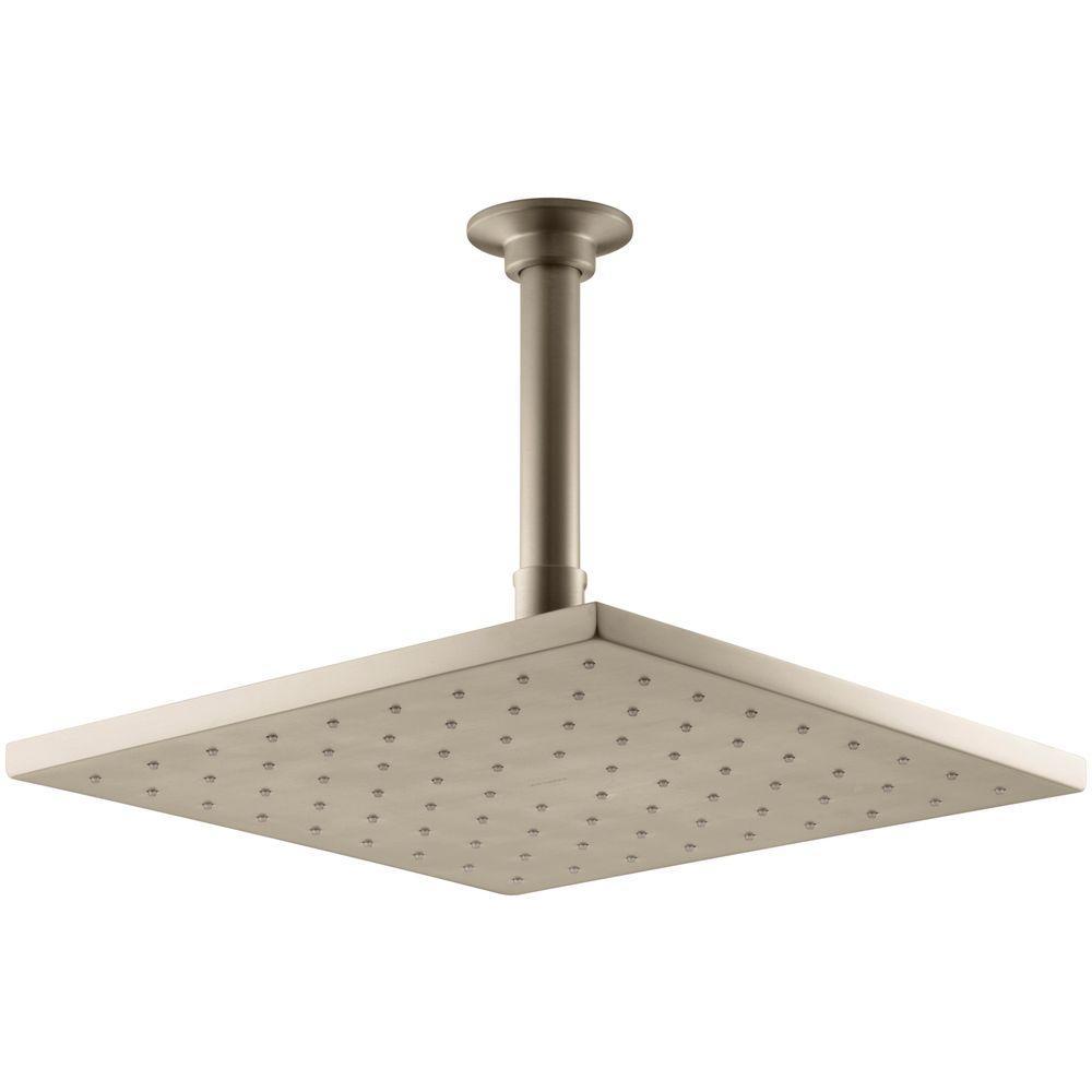 KOHLER 1-spray Single Function 10 in. Contemporary Square Rain Showerhead in Vibrant Brushed Bronze