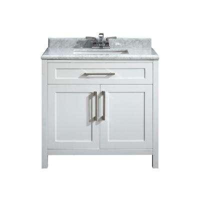 Santa Monica 36 in. W x 21 in. D Vanity in White with a Marble Vanity Top in White with White Basin
