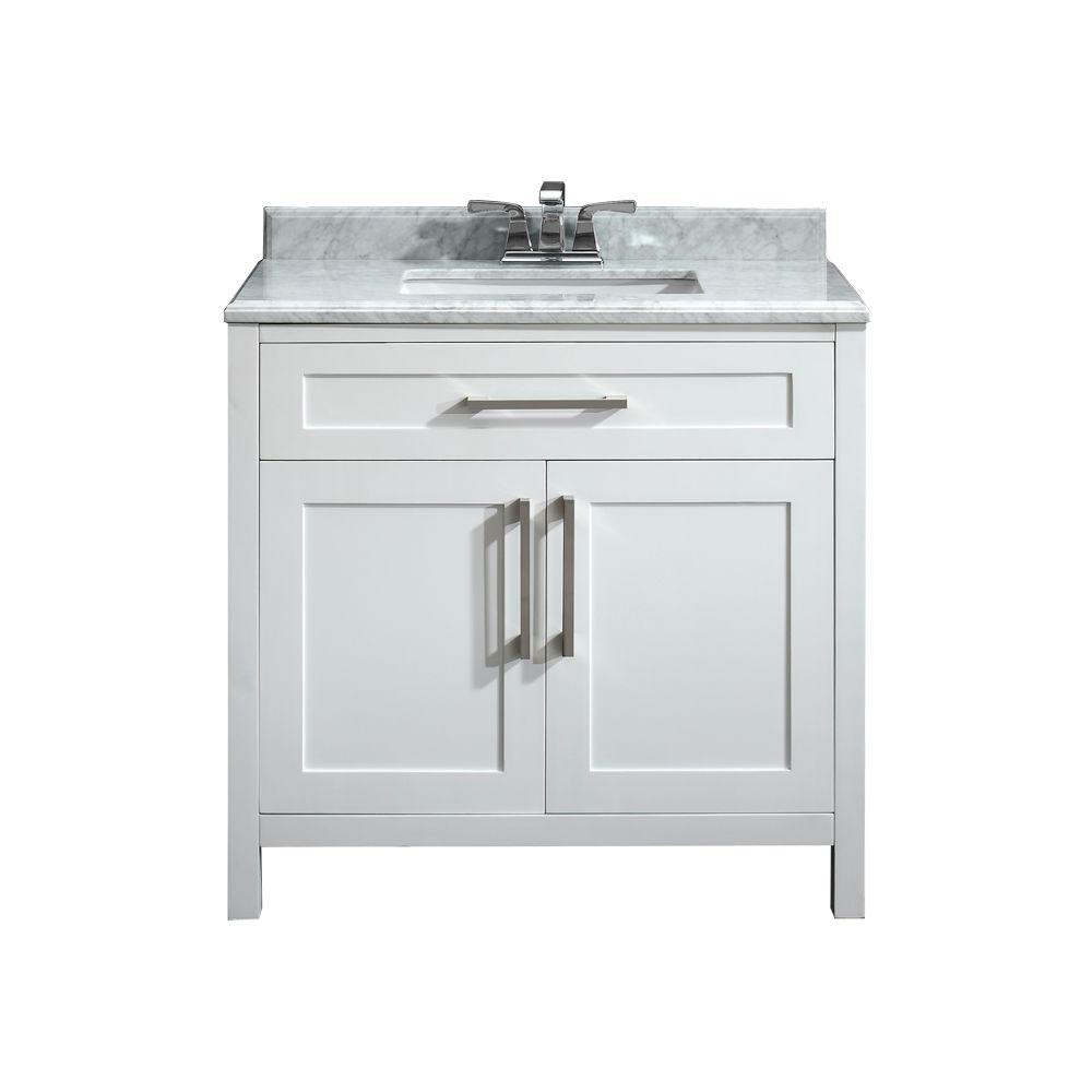 Pegasus Santa Monica 36 in. W x 21 in. D Vanity in White with a Marble Vanity Top in White with White Basin