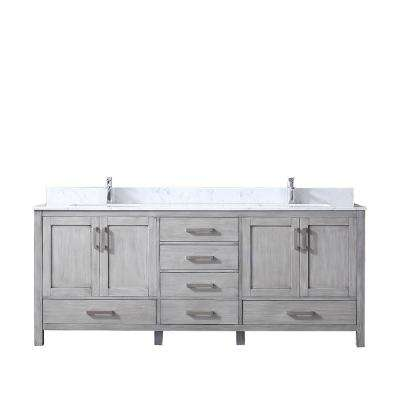 Jacques 80 in. Double Vanity Distressed Grey, White Carrera Marble Top, White Square Sinks and no Mirror