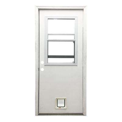 32 in. x 80 in. Classic Clear Vented Half Lite RHIS White Primed Fiberglass Prehung Front Door with Small Cat Door