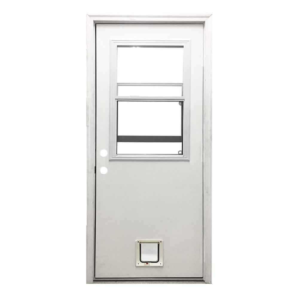 36 in. x 80 in. Classic Clear Vented Half Lite RHIS White Primed Fiberglass Prehung Back Door with Small Cat Door