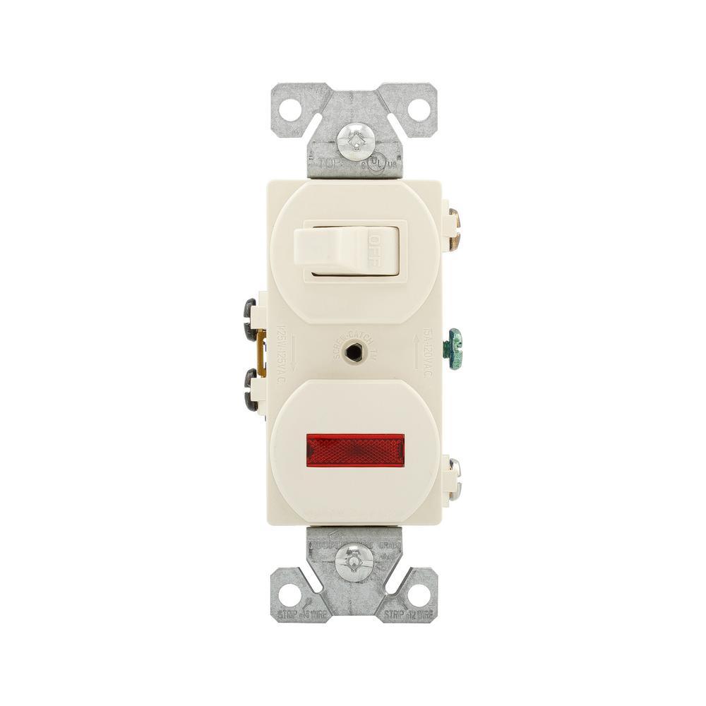 Eaton 15 Amp Single Pole Combination Toggle Switch and Pilot Light, Light  Almond