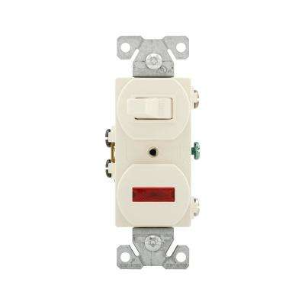 15 Amp Single Pole Combination Toggle Switch and Pilot Light, Light Almond