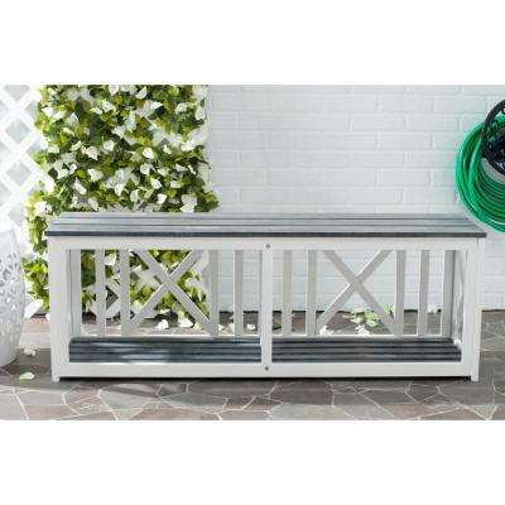 Branco White Patio Bench with Ash Gray Seat