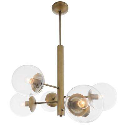 Rogue Decor Mid-Century 6-Light Antique Brass Chandelier with Clear Glass