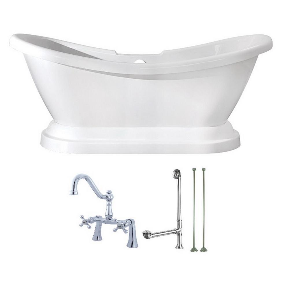 Aqua Eden Pedestal 5.8 Ft. Acrylic Flatbottom Bathtub In