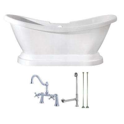 Pedestal 5.8 ft. Acrylic Flatbottom Bathtub in White and Faucet Combo in Chrome