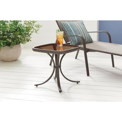 18 in. Mix and Match Square Steel Outdoor Patio Side Table with Glass Top