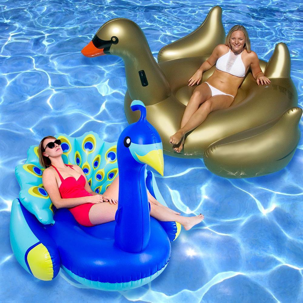 Swimline Giant Peacock and Golden Goose Swimming Pool Flo...