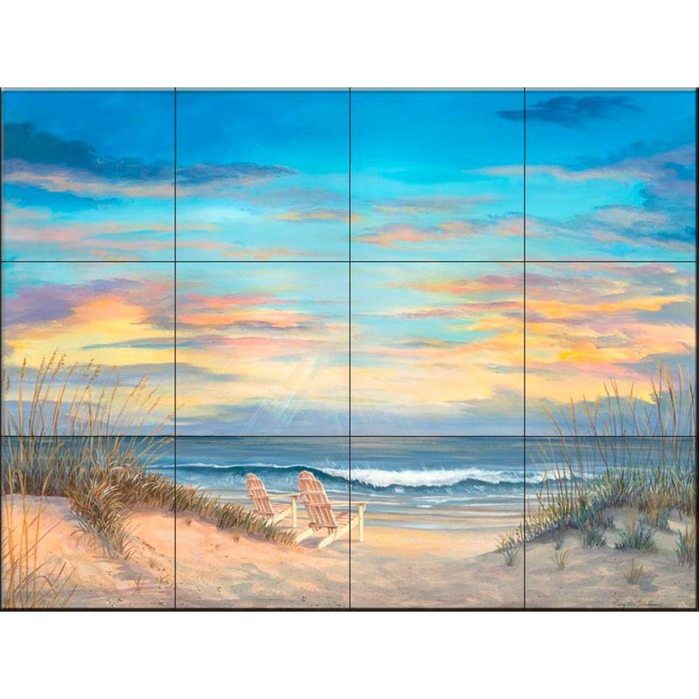 The Tile Mural Store Front Row Seats 17 in. x 12-3/4 in. Ceramic Mural Wall Tile
