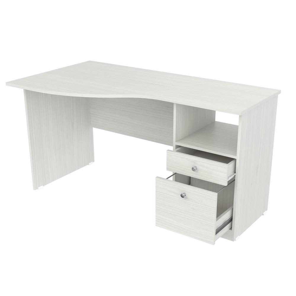 55 in. Washed Oak Rectangular 2 -Drawer Computer Desk with File Storage