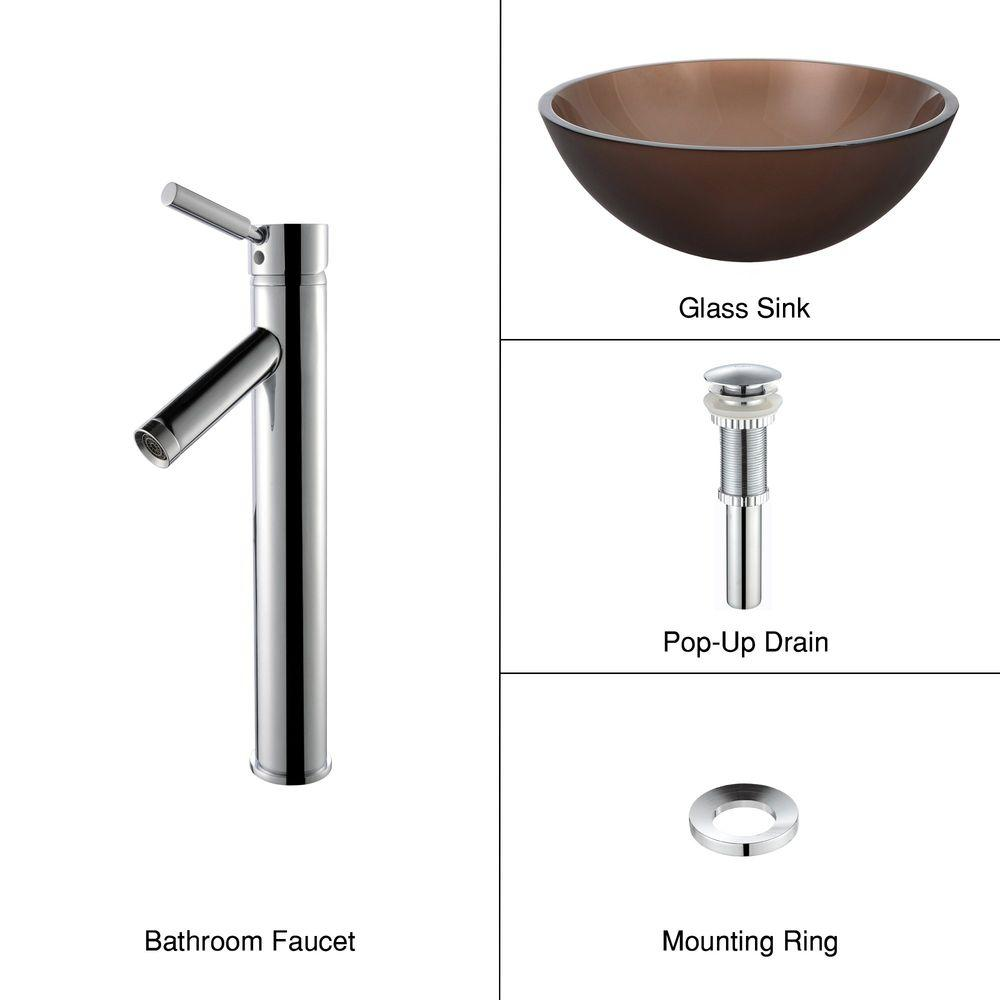 KRAUS Glass Vessel Sink in Frosted Brown with Single Hole 1-Handle High Arc Sheven Faucet in Chrome