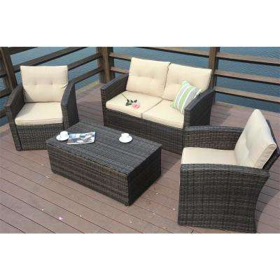 Puerta Brown 4-Piece All-Weather Resin Wicker Patio Deep Seating Set with Beige Cushions