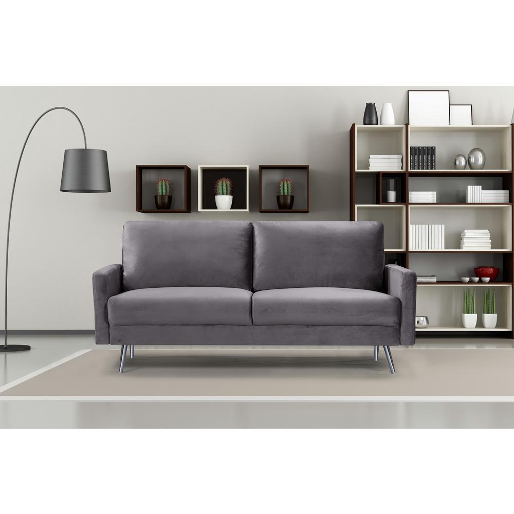 Grey Ashley Velvet Fabric Sofa