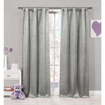 Solid Grey Polyester Blackout Grommet Window Curtain - 37 in. W x 84 in. L (2-Pack)