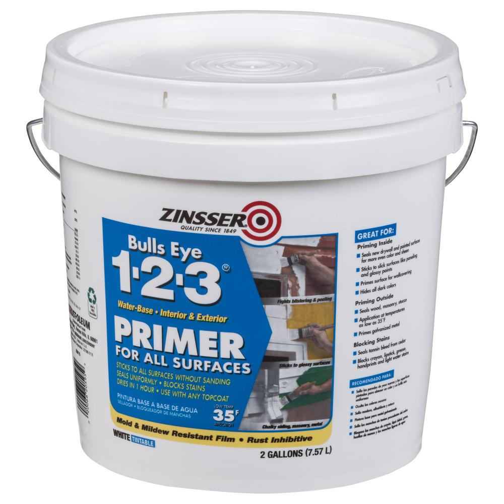 Zinsser Bulls Eye 1-2-3 2 Gal. White Water-Based Interior/Exterior Primer and Sealer
