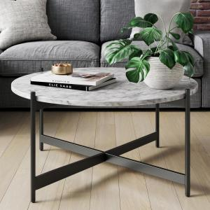 Piper 36 in. White/Black Medium Round Faux Marble Coffee Table